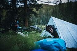 Sleeping under an ultralight tarp while bikepacking the Colorado Trail.