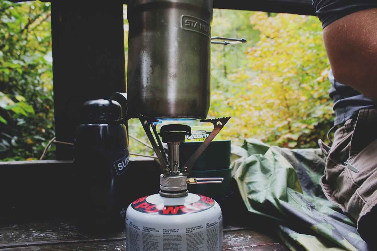 Cooking on a lightweight backpacking stove.