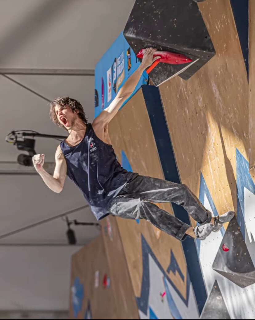 Sean Bailey wins the 2021 Bouldering World Cup in Salt Lake City.