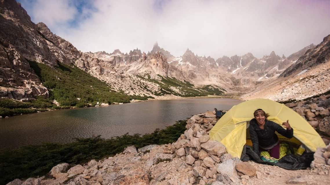 Dani Reyes-Acosta, camping near Refugio Frey, Argentina.