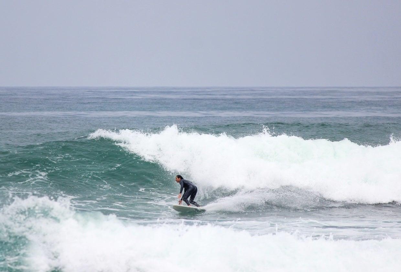 Dani Reyes-Acosta surfs, Punta Rocas, Peru.