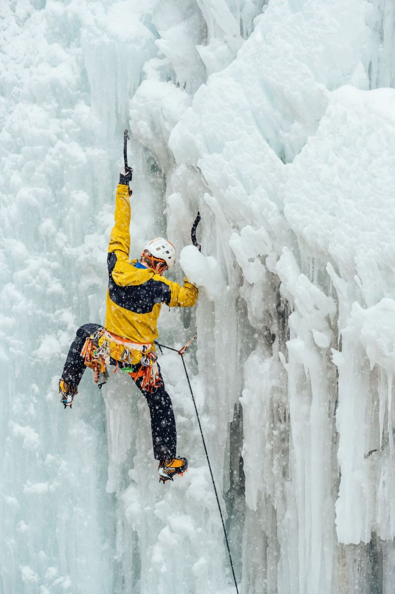 Graham Zimmerman climbs ice at the Ouray Ice Park in the Archangel alpine climbing jacket and bibs with Gore Tex Pro with stretch technology.
