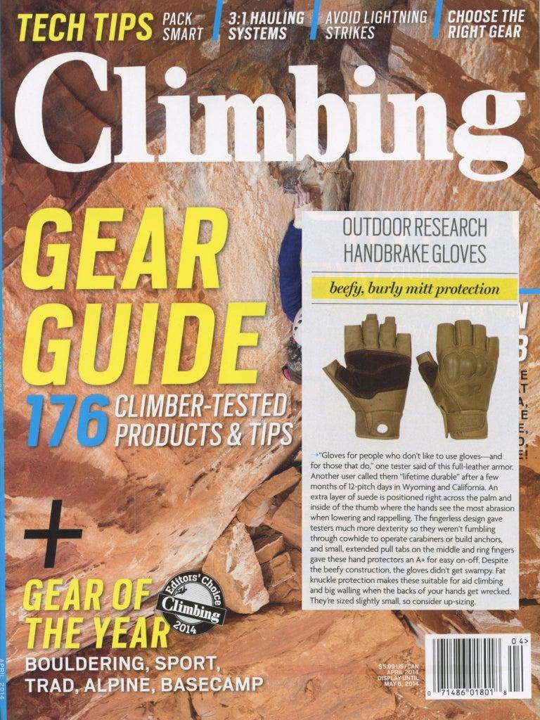 Climbing Magazine reviews the Handbrake Gloves