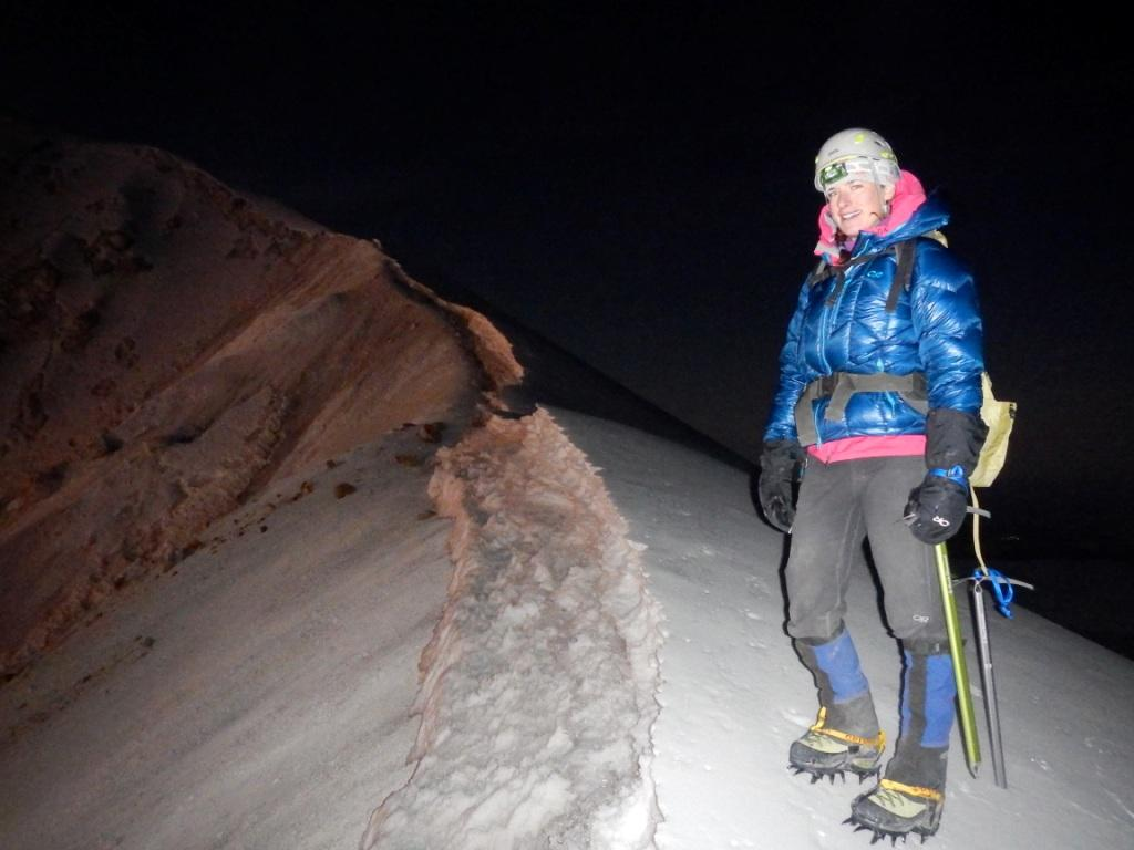 Ascending the crater rim before dawn