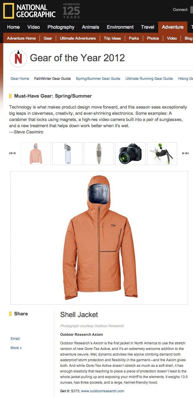 Nat Geo Adventure names Axiom jacket 'Gear of the Year'