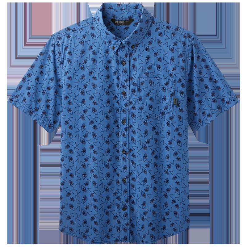 Men's Janu woven short sleeve button down shirt in medium blue with naval blue print