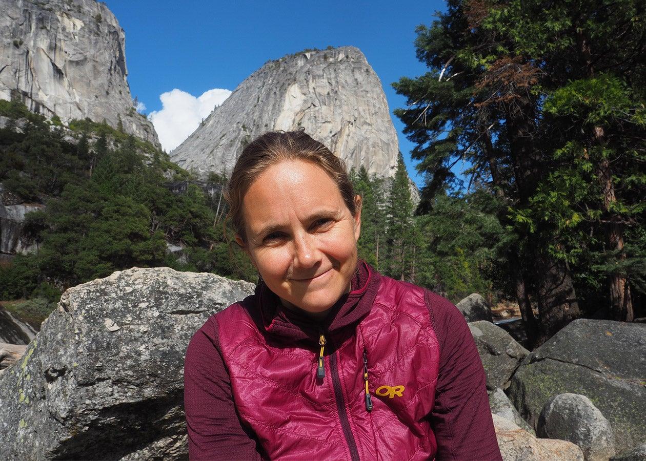 Outdoor Research Climb Ambassador, Beth Rodden, smiling in Yosemite Valley