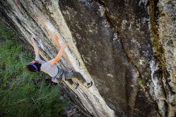 Keenan Takahashi climbs Empath, 5.15a, in Tahoe.