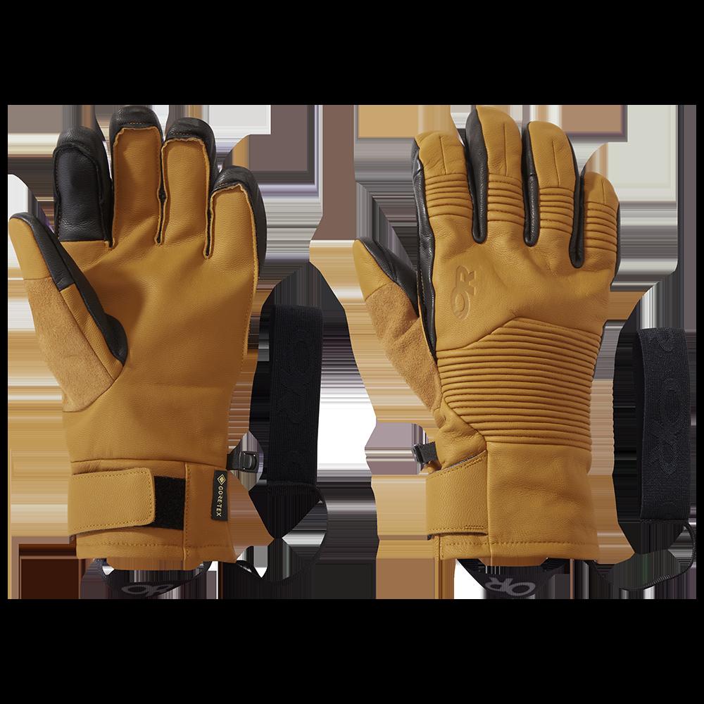 Men's leather Point N Chute GoreTex Sensor Gloves in Natural/Black