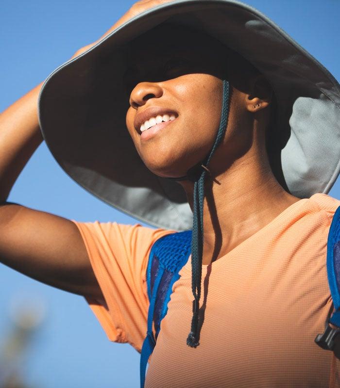 Female model wearing the Mojave Sun Hat